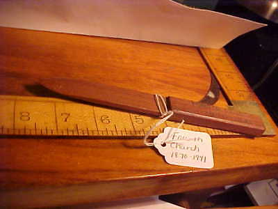 Antique Solid Walnut Wood Letter Opener hand carved FOURTH CHURCH 1870-1941