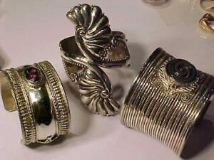 OFFERING 3 STERLING 925 CUFF BRACELETS Hallmarked-Taxco JC-SAJEN-Age unknown prices in pictures NOT SCRAP Sold as jewlry