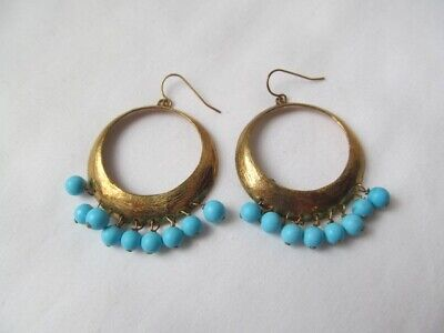 New Designer Sterling Silver 925 Gold Turquoise Dangle Fish Hook Earrings