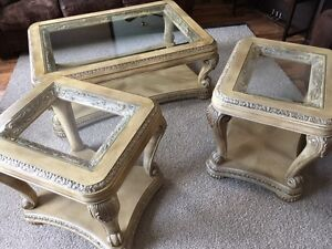 Beautifully handcarved solid wood coffee table and end tables