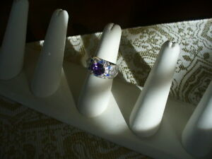 Gorgeous Amethyst + Blue Zircon ladies ring, size 8.