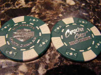 Green & White Poker Chip From Carolina Coast Harley Davidson Wilmington, NC