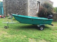 FunYak350 3.5m long river boat c/w trailer and Tohatsu 6HP outboard motor, hardly used ready to go