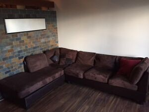 Brown suede sectional couch in very good condition!