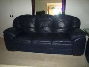 Dark Blue Soft Leather Look 7' Couch