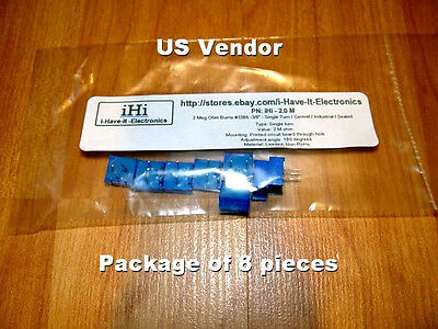 2 Meg Ohm Bourns 3386 -38 - Single Turncermetindustrialsealed Pot - 8 Pcs.