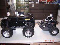 LARGE RADIO CONTROL HUMVEE WITH TRAILER AND ATV (USED)