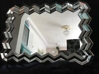 Large Art Deco Mosaic Venetian Style Facet Over Mantle Wall Mirror