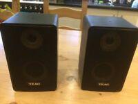 Two black mini TEAC, two way speakers.