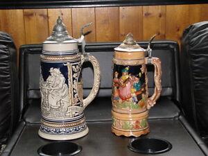 Pair of Vintage Musical Beer Steins