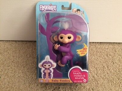 New WowWee Fingerlings MIA Interactive Baby Monkey Toy Purple White Hair USA
