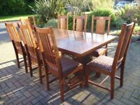 Stunning Hardwood Dining Table & 8 High Back Upholstered Chairs AS NEW