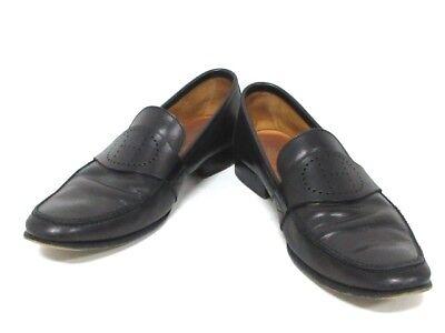 Auth HERMES Black Leather Shoes Men