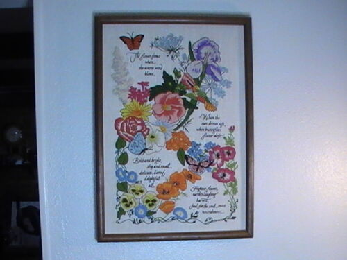 """Embroidery Flowers Needlepoint Poem #1138 Cross Stitch 1970s 21"""" x 15"""" Completed"""