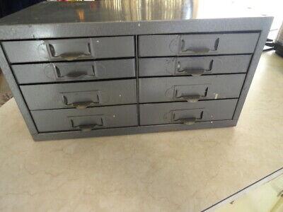 Vintage Industrial Small Metal 8 Drawer Storage Box Cabinet