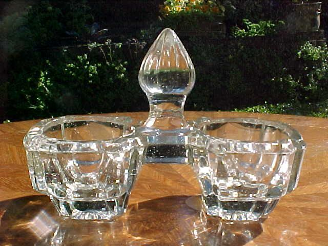 Antique French Victorian Crystal Double Open Salt & Pepper