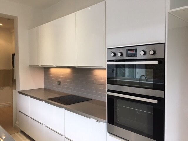 White Gloss Ikea Metod Kitchen Cabinets With Dark Wood Interior In Acton London Gumtree