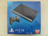 PS3 Super Slim Console 500GB as new with all leads and original box