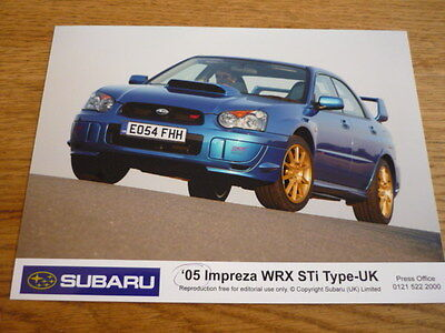 "SUBARU IMPREZA WRX STi TYPE UK ORIGINAL PRESS PHOTO  "" Brochure "" jm"