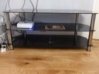 TV Glass Plasma Stand upto 50 inch televisions, Black, safety glass, three shelves, looks great