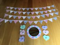 John Lewis girls bedroom accessories in excellent or new boxed condition: mirror, hooks & bunting