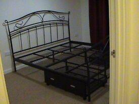 king sized, metal bed frame + drawers