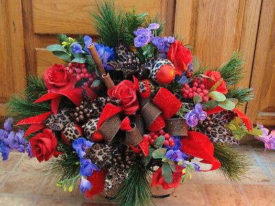 Cheeta Poinsettia Mistletoe Christmas Day Cemetery Memorial Headstone Saddle  ()