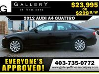 2012 Audi A4 2.0T QUATTRO $229 bi-weekly APPLY NOW DRIVE NOW