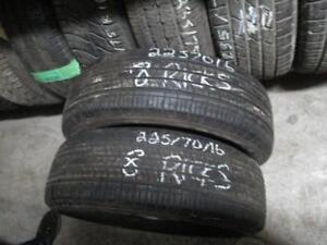 225/70 R16 KUMHO USED TIRES (SET OF 2) - APPROX. 75% TREAD