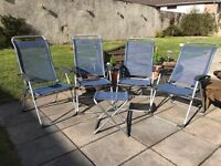 Lafuma CHAMELIPS Classic Batyline Folding Chair Ocean x4 with foot stand