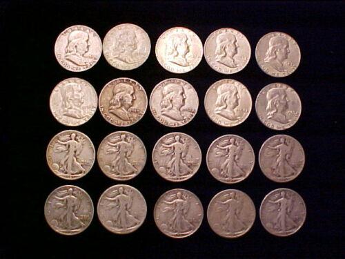 20 Coins 10 SILVER Walking Liberty Half Dollars, 10 SILVER Franklin Half Dollars