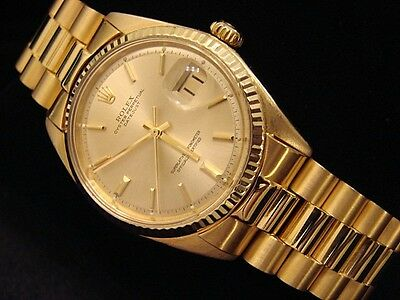 Mens Rolex Solid 18k Yellow Gold Datejust W/Gold Plated President Style Bracelet