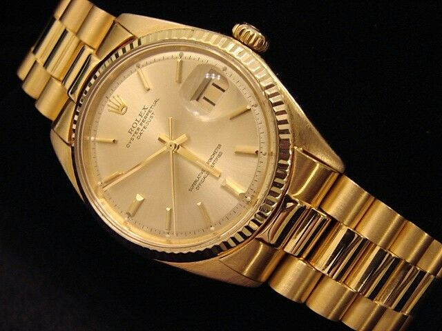 $6499.98 - Mens Rolex Solid 18k Yellow Gold Datejust W/Gold Plated President Style Bracelet