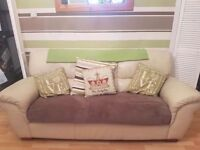 3 seater and 2 seater leather couch