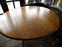 Vintage ERCOL ROUND Light ELM Blonde Drop Leaf Kitchen Dining Table ~ 2 Country Oak Rush Seat Chairs