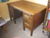 Large oak desk.