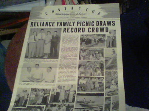 Aug 1952 Contactor Reliance Electric newsletter Ashtabula Family Picnic pics