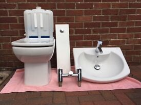 Bathroom basin, toilet and shower fittings