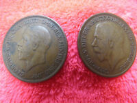 4 COINS, 1920 & 1934 ONE & 1952 HALF PENNY GEORGE V & NEW PENCE