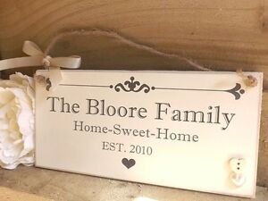 Personalised Family Name Plaque Sign Housewarming New Home Gift Handmade