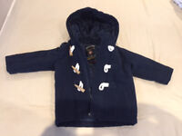 Dark blue Next duffle winter coat, 12-18m, with zip/tog fastening, excellent condition