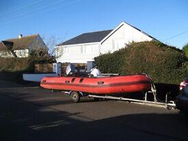 Semi-rigid inflatable, 5.3m, Family/Fishing; 50 HP Mariner, Armstrong overtube ladder, Fishfinder