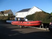 Semi-rigid inflatable, 5.3m, Family/Fishing; 50 HP Mariner, Armstrong overtube ladder, Fishfinder