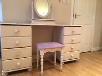 Painted dressing table, chair & mirror
