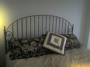 One-of-a-kind hand crafted wrought iron King Shaker headboard