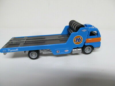 Hot Wheels - Team Transport - LOOSE - Blue WIDE OPEN  Car Hauler w/ Real Riders