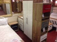NEW Grey Red Black or White bedroom set Wardrobe, Chest of drawers & Bedside ONLY £219 in store