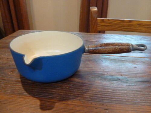 Vintage Blue LE CREUSET 18 Cast Iron Sauce Pan Pot With Spout Wood Handle