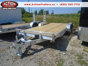 ALUMINUM CAR HAULER/ EQUIPMENT TRAILER 7X18' W/ALUMINUM WHEELS
