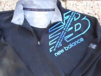 NEW BALANCE cotton jumper black with blue, zip at collar, size M to Large